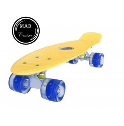 Penny board Mad Cruiser cu roti LED ABEC 7-galben