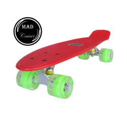 Penny board Mad Cruiser cu roti LED ABEC 7-rosu