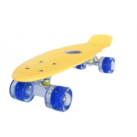 Penny board Mad Cruiser cu roti LED ABEC 7-galben