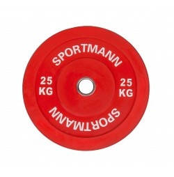 Greutate Cauciuc Bumper Plate SPORTMANN - 25 kg / 51 mm - Rosu