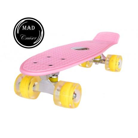 Penny board Mad Cruiser cu roti LED ABEC 7-roz