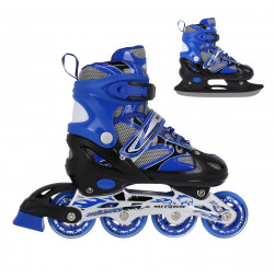 NH18366 A 2IN1 BLUE SIZE S(31-34) IN-LINE SKATES/HOCKEY ICE SKATES