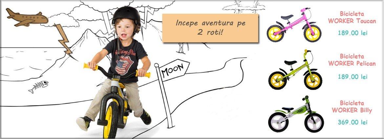 bicicleta fara pedale, bicicleta copii, bicicleta worker, bicicleta billy
